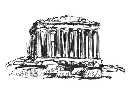 hand schets de Atheense Akropolis Stock Illustratie