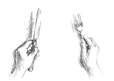 hand sketch by hand with a knife and fork