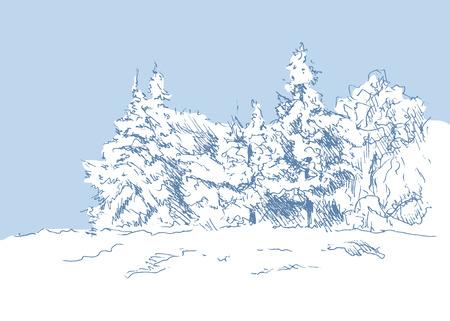 손으로 스케치 겨울 풍경 일러스트