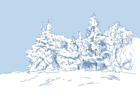 hand sketch winter landscape