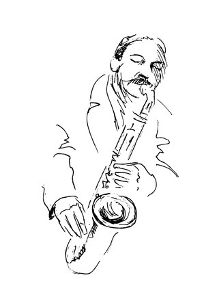 african sax: hand sketch saxophonist Illustration