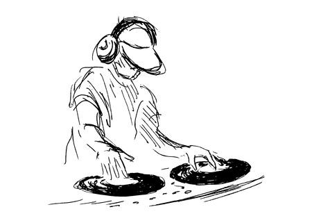 hand sketch DJs  イラスト・ベクター素材