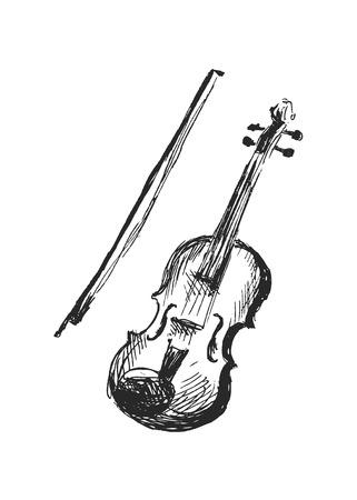손으로 스케치 바이올린 일러스트