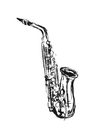 hand sketch saxophone Ilustração