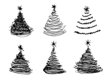 boceto: conjunto de vectores de la mano dibuja árboles de Navidad