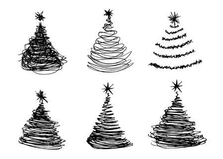 christmas trees: vector set of hand sketches Christmas trees