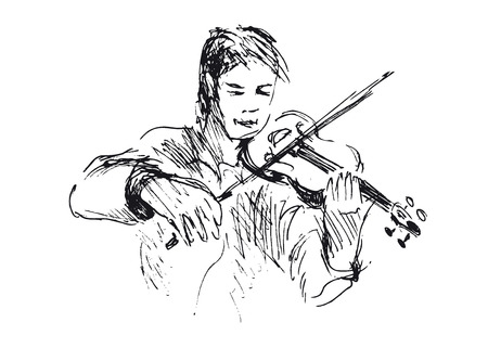 violinist: hand sketch violinist