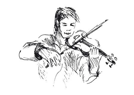 violinista: violinista bosquejo de la mano