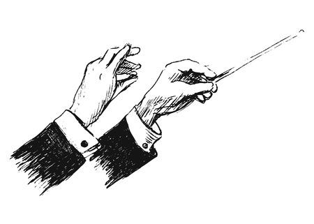 szkic strony ręce dyrygenta
