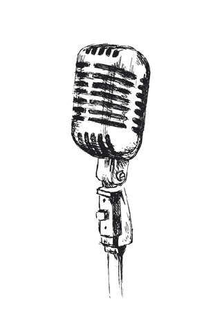 microfono de radio: bosquejo de la mano el micrófono pasado