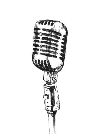 Hand schets oude microfoon Stockfoto - 46853750
