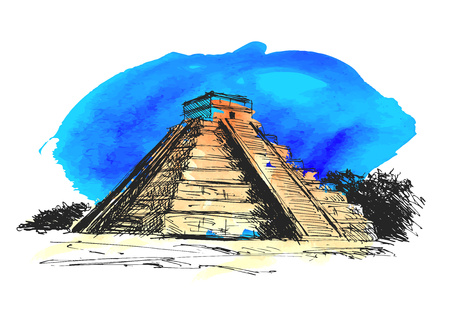 hand colored drawing Maya pyramid