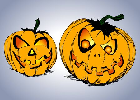 hand colored: Hand colored drawing two Halloween pumpkins