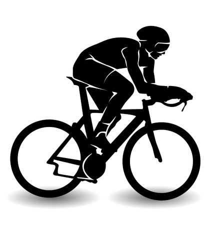 silhouette city: vector silhouette of a cyclist