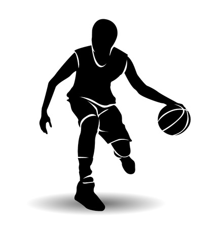 vector silhouette of basketball player with ball Çizim