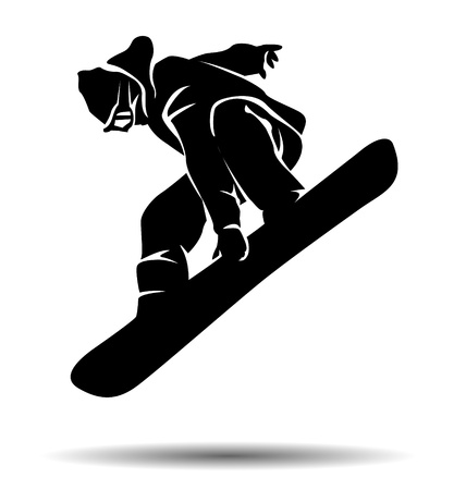 Vector silhouette snowboarder 일러스트