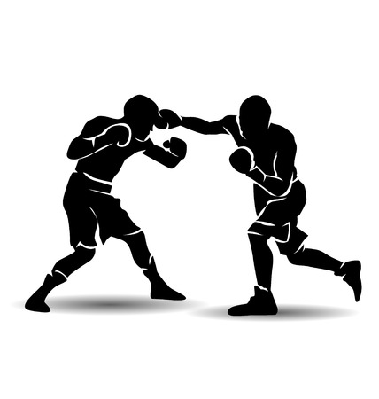 kick boxing: Vector silhouette of boxing