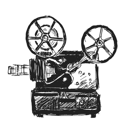 cinematograph: hand sketch old projector