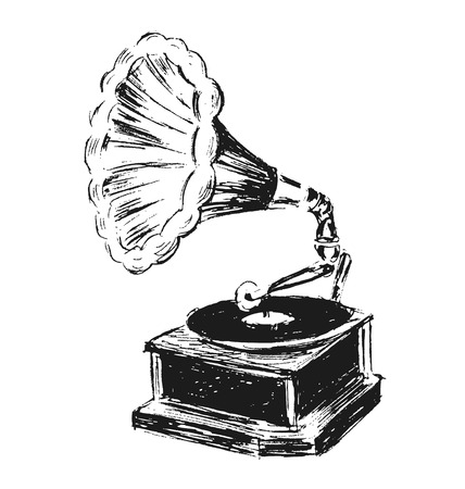 phonograph: hand sketch phonograph Illustration