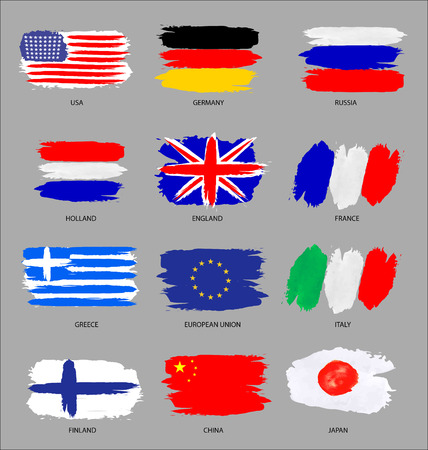 finland flag: vector set of painted flags