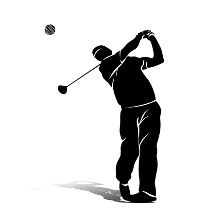 training course: vector silhouette of a golfer