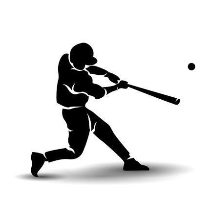 Vector silhouet van een honkbalspeler Stock Illustratie