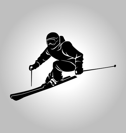 vector silhouette of skier 일러스트