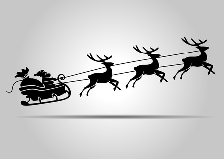 vector silhouette of Santa Claus on Christmas sleigh Stock Illustratie