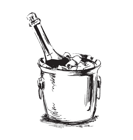 hand sketch champagne Vectores
