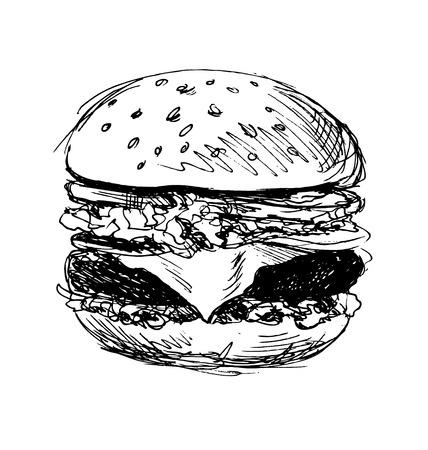 grilled: hand sketch hamburger Illustration