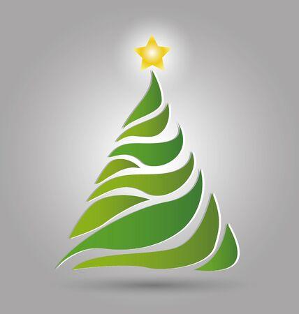 christmas tree illustration: Vector illustration stylized Christmas tree