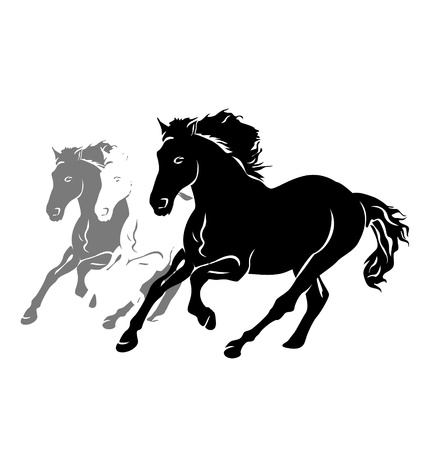 Vector silhouettes of three running horses Vectores