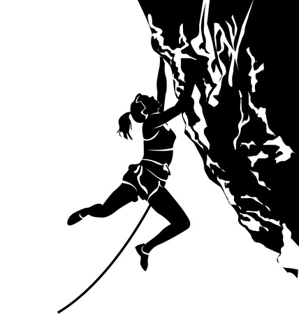vector silhouette of a climber Vettoriali