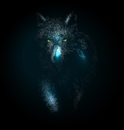 Vector illustration of a wolf on a dark background