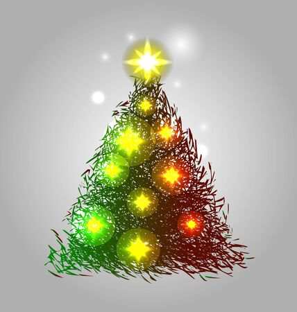 christmas tree illustration: Color vector illustration of a Christmas tree