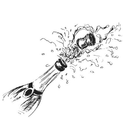 popping cork: hand sketch bottle of champagne