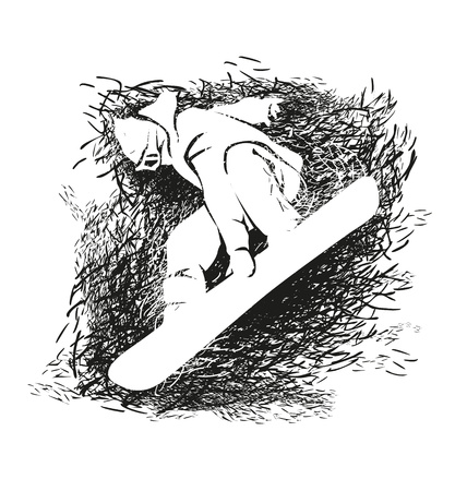 snowboarder: Vector grunge illustration of snowboarder