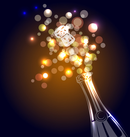 popping cork: Vector illustration of a bottle of champagne