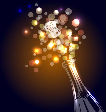 Vectorillustratie van een fles champagne