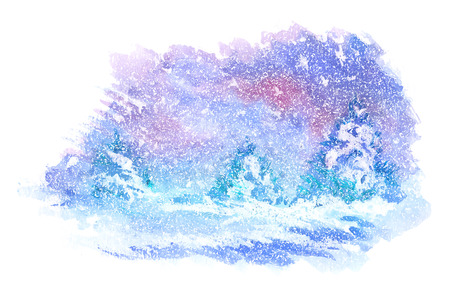 Watercolor paintings of winter landscapes. Vector illustration Çizim