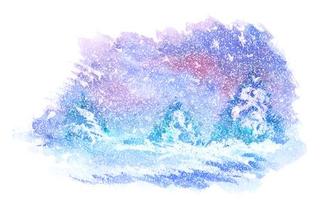 Waterverf schilderijen van winterlandschappen. Vector illustratie Stock Illustratie
