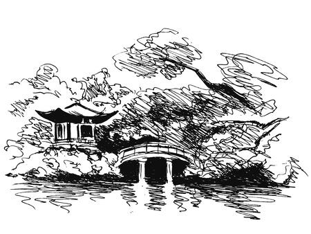 japanese garden: hand sketch Japanese garden