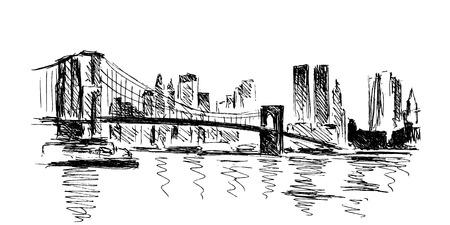 manhattan bridge: hand sketch New York Illustration