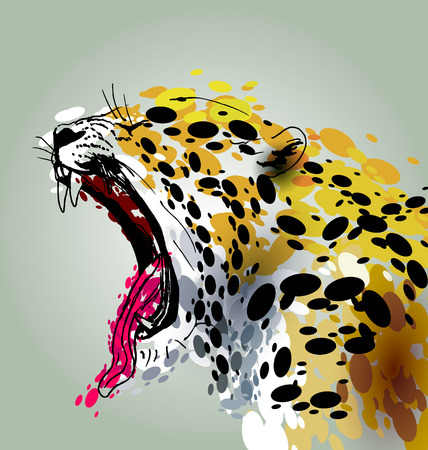 Vector illustration roaring Jaguar