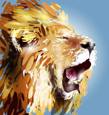 male face: illustration of a lions head