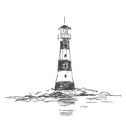 Skizze Leuchtturm Standard-Bild - 49599281