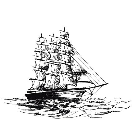 schets van zeilboot Stock Illustratie