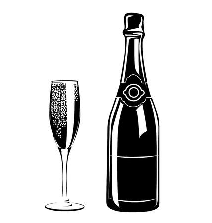 silhouet glazen en een fles champagne Stock Illustratie