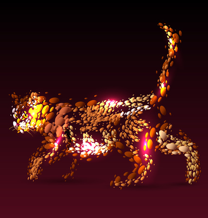 walk away: Vector illustration of a cat on a dark background Illustration