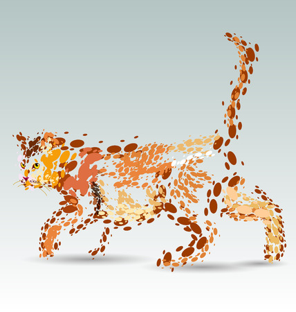 cut away: Vector illustration of a cat